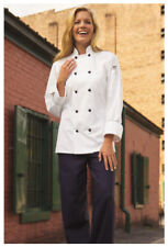 One Lot of 10 White Chef Coats w/Black Piping & Knot Buttons. Size: Large - 408