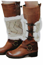 Women Boots Covers Toppers Pair White Faux Fur Slip On Booties Heels Beige Knits