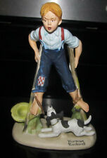 "Norman Rockwell Danbury Mint Figurine ""Boy On Stilts"" Dog Porcelain"