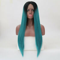 Ombre Lace Front Wig Long Straight Synthetic Hair Wigs Black&Green for Women