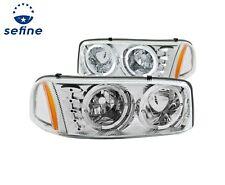 Anzo Crystal Headlights Chrome w/Halo & LED For 99-06 GMC Sierra #111208