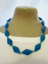 "Fair Trade 20"" Teal Blue Faceted Resin Nugget Bead Necklace Funky Arty Boho New"