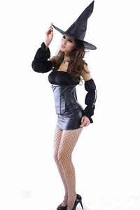 Womens Fancy Dress Seductive Witch Halloween Ladies Costume Large UK 10-12