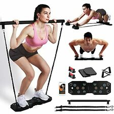 Portable Home Gym Workout Equipment, Exercise Equipment with Pilates Bar Black