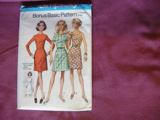 Vintage Simplicity Pattern 8858 Miss Dress 1970 Sz 16 Bust 38 Bonus Chart Incl