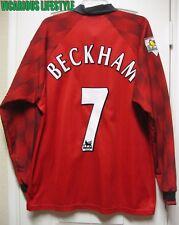 BECKHAM #7 Manchester United 1996-98 Long-Sleeves Home Shirt XL w/ Sleeve Badges