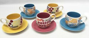 5 Anthropologie Espresso Demitasse Cups/Saucers Dots/Circles Japan