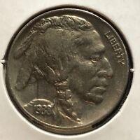 USA 1938 D Buffalo Nickel 5 Cent Denver Gute Erhaltung Selten #11102