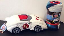 NWT New Speed Racer Movie MACH 5 Car Pillow & Microfiber Fleece Throw Blanket