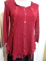 LADIES CAROLINE MORGAN SIZE XL OR 12-14 RED PRETTY LACE & KNIT TOP
