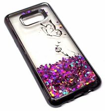 For Samsung Galaxy S8+ PLUS - Gray Butterfly Rose Pink Glitter Liquid Water Case