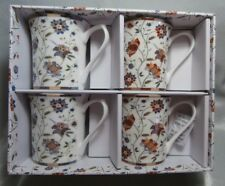 QUEENS FINE BONE CHINA  MUGS (SET 4)  INDIAN SILK NEW IN BOX HIDW01671 2AT