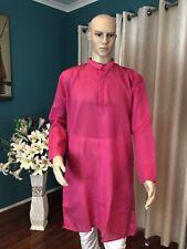 "40"" M Sherwani Suit Indian Bollywood Mens Kurtha Pink Cotton Outfit Kurta KS13"