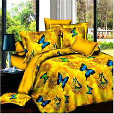 Yellow Butterfly Queen Bed Quilt Doona Duvet Cover Set Pillow Cases Bedding Sets