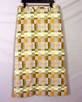 vtg 60s 70s Gordon Colorful Green Brown Wool Tweed Checker Pencil Skirt Long 14