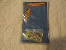 """Vintage Santa And Reindeer Felt Stocking Kit Christmas 15.5"""" Santa Claus Sealed"""