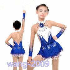 Girl Competition Figure skating Dress Ice Skating Dress Sparkle gymnastics bule