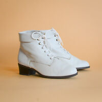 White Leather Laced Ankle Boots Fleece Vintage 90's Y2K Women's UK 4 EUR 37 US 6