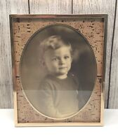 """🔴70's Vintage Brass 9"""" x 11"""" Cork Oval Matte Picture Frame Real Antique Photo"""