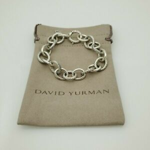 """David Yurman 925 Sterling Silver 12mm Large Oval Link Cable Chain Bracelet 7"""""""