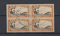 New Zealand 1935 3/- Block of 4 Perf 13-14 x 13 1/2 SG569 VFU JK2698