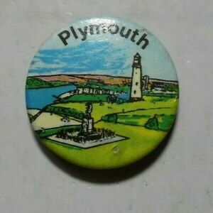 PLYMOUTH PLACE OF INTEREST VINTAGE TIN PIN BADGE THE HOE PROMENADE 1970S?.