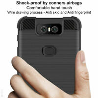 For Asus Zenfone 6 ZS630KL Slim Carbon Fiber Shockproof Airbags Soft Case Cover