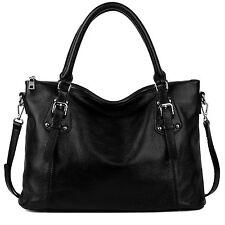 YALUXE Womens Vintage Style Soft Leather Tote Large Shoulder Bag Black