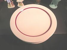 "Delco China 12"" Restaurant China Plate w/ Red Trim"