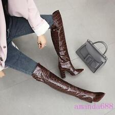Womens Block High Heels Stoneskin Over the Knee Boots Winter Biker Shoes US Size