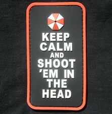 3D KEEP CALM SHOOT EM IN HEAD PVC ZOMBIE COMBAT VELCRO® BRAND FASTENER PATCH