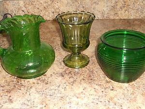 Green Vintage Glassware