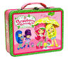 Tin Metal Lunch Snack Toy Box Embossed Strawberry Shortcake Umbrella Friends NEW
