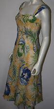 RALPH LAUREN Yellow Blue Green Silk Orchid Tropical Dress 6