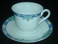 SCHIRNDING BAVARIA   Blue Leaf  Coffee / Tea ? Cup and Saucer GERMANY c1990
