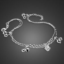 Genuine Solid Sterling Silver Crown Pendant Chain Lady's Anklet B287