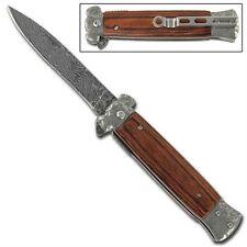 Striker Spring Assisted Stiletto Knife Damascus Etch Rosewood DG1-10