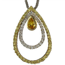 Modern Pendant With Yellow Sapphires and Diamonds