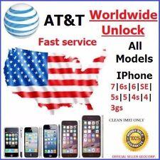 FACTORY UNLOCK CODE SERVICE AT&T IPHONE 7 6S 6 SE 5S 5C 5 4S 4 ATT FAST