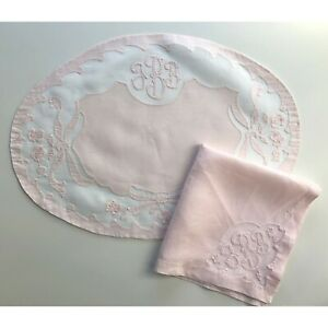 Vintage Madiera Pink Linen Organdy Monogrammed Placemats w Napkins 12 Pieces