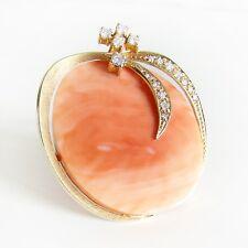 Brosche Gold 585er Koralle Brillanten Goldschmuck Edelsteine 14 kt. Diamanten