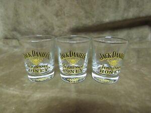 Jack Daniel's Tennessee Honey Logo Shot Glass Lot of 3 Pieces w/Bee Design