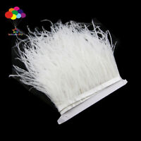 Hot 1/5/10 meter white Ostrich Feathers 8-15cm/3-6 inch Fringe Ribbon Trim craft