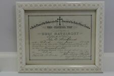 Antique 1890 Springfield M Wedding Marriage Certificate Carved Wood Frame