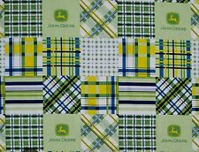 JOHN DEERE MADRAS PLAID PATCH TRACTOR 100% QUILT COTTON FABRIC TRACTORS YARDAGE