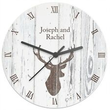 Personalised Stags Head Large Wooden Kitchen Wall Clock - Home Wedding Gift