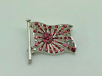 H A Lazarus Art Deco Solid Silver Ruby/Diamond PASTE Imperial Japan Flag Brooch