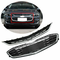 2016-2018 Upper+Lower Grille Honeycomb Mesh Chrome Front Bumper For Chevy Malibu