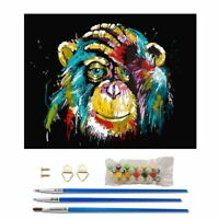 Frameless DIY Oil Painting Kit Colorful Orangutan Paint By Numbers for Beginners