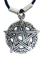New Pentagram Star Moon Charm Silver Tone Punk Pendant Cord Choker Necklace
